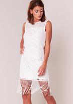 Missy Empire Naomi White Tassel Hem Shift Dress