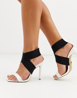 Lipsy elasticated strap heeled sandals in white