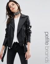 Vero Moda Petite Studded Leather Look Biker Jacket