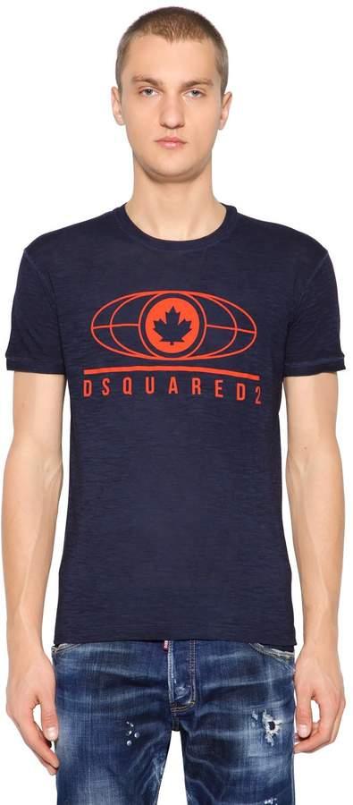 DSQUARED2 Leaf Printed Cotton Blend Jersey T-Shirt