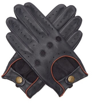 Dents Delta Leather Driving Gloves - Mens - Navy