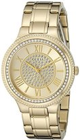 GUESS Women's U0637L2 Dressy Gold-Tone Watch with Champagne Dial , Crystal-Accented Bezel and Stainless Steel Pilot Buckle