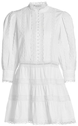 Alice + Olivia Clark Embroidered Tier Mini Dress