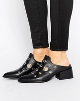 Sol Sana Clarice Eyelet Leather Mid Heeled Mules