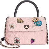 Betsey Johnson Embellished Bouclandeacute; Small Top-Handle Bag