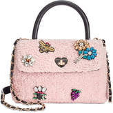 Betsey Johnson Embellished Bouclé Small Top-Handle Bag