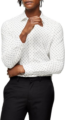 Topman Off White Dot Button-Up Shirt