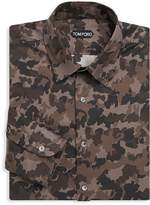 Tom Ford Men's Camouflage Cotton Dress Shirt