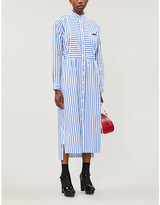 Prada Striped logo-patch cotton-jersey midi dress
