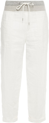 James Perse Crinkled Cotton-blend Poplin And Jersey Straight-leg Pants