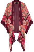 Anna Sui Poppy Buds Printed Cotton And Silk-blend Kimono - Burgundy
