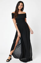 La Hearts Smocked Off-The-Shoulder Maxi Dress