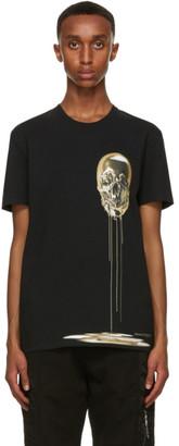 Alexander McQueen Black and Gold Skull Print T-Shirt