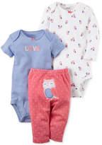 Carter's 3-Pc. Cotton Bodysuits & Owl Pants Set, Baby Girls