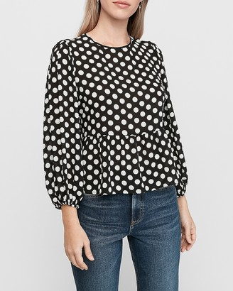 Express Polka Dot Balloon Sleeve Peplum Top