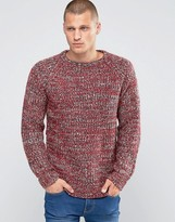 Brave Soul Marl Knit Jumper With Elbow Patches