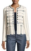 Tory Burch Abbot Embellished Striped Tweed Jacket, Celeste/Verde