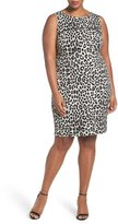 MICHAEL Michael Kors Cheetah Print Sleeveless Sheath Dress (Plus Size)
