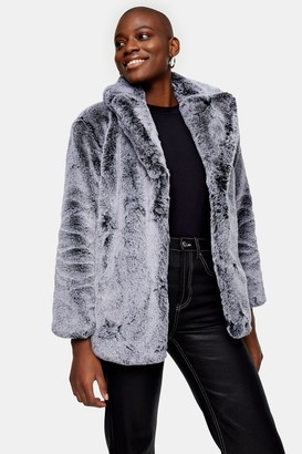 Topshop Gray Two Tone Faux Fur Coat