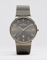 Skagen Ancher Mesh Strap Watch In Gunmetal 40mm