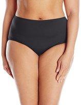 Anne Cole Women's Plus-Size Colorblast High-Waist Tummy-Control Bikini Bottom