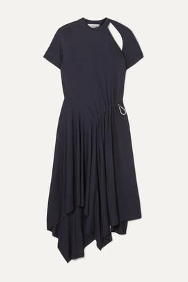 Monse Asymmetric Cutout Stretch-jersey Dress - Navy