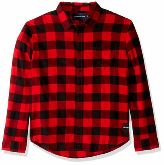 Calvin Klein Men's Flannel Plaid Long Sleeve Button Down Shirt