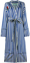 Off-White striped pyjama coat with embroidery - women - Cupro/Silk/Cotton - S