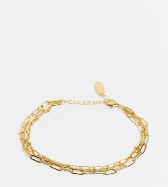 Orelia mixed multirow chain bracelet in gold plate