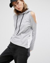 Daisy Street Cut Off Hoodie With Distressed Cold Shoulder