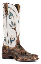 Stetson Crackle Brown Vamp & White Shaft-Accent Leather Cowboy Boot