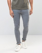 Asos Super Skinny Jeans With Rips And Distressing In Gray