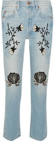 Bliss and Mischief - Conjure Embroidered High-rise Straight-leg Jeans - Light denim