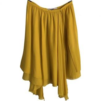 Martine Sitbon Yellow Silk Skirt for Women