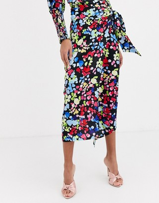 Never Fully Dressed wrap satin midi skirt in neon floral print