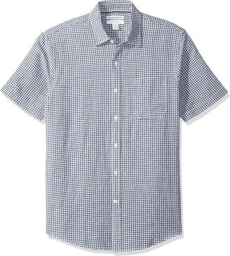 Amazon Essentials Men's Slim-Fit Short-Sleeve Gingham Linen Shirt