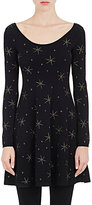 Valentino Women's Star-Embroidered Swing Minidress-BLACK, NO COLOR