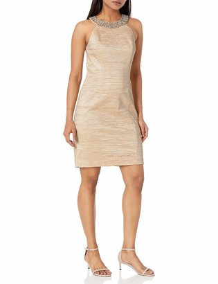Eliza J Women's Fitted Dress with Beaded Neckline (Regular & Petite)