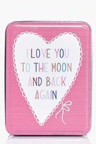 Boohoo Moon And Back Slogan Trinket Box