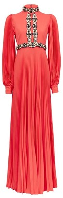 Andrew Gn Embellished Plisse-sleeve Silk-blend Gown - Coral