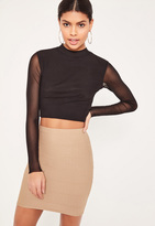 Missguided Petite Brown Bandage Mini Skirt