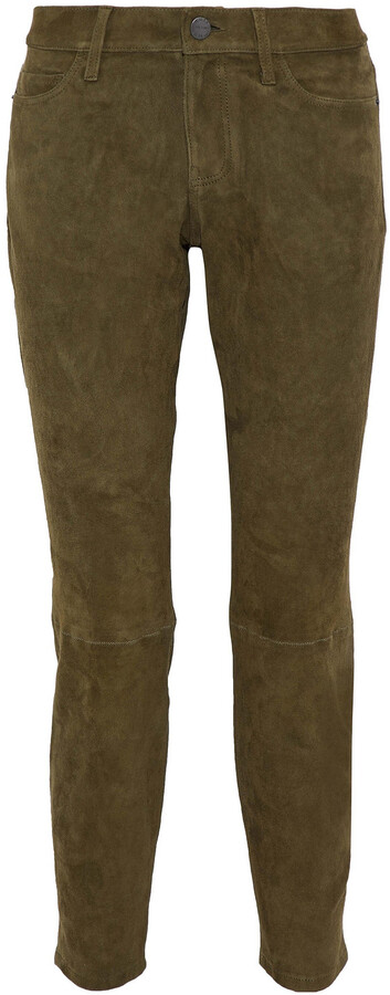 Thumbnail for your product : Current/Elliott The Easy Stiletto Suede Mid-rise Slim-leg Jeans