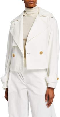 Vince Cropped Belted Linen-Cotton Jacket