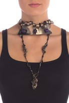 Valentino Twisted Metal & Leather Crown Choker