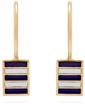 Jessica Biales - Enamel & 18kt Gold Earrings - Blue