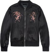 Alexander Mcqueen - Embroidered Silk-satin Bomber Jacket