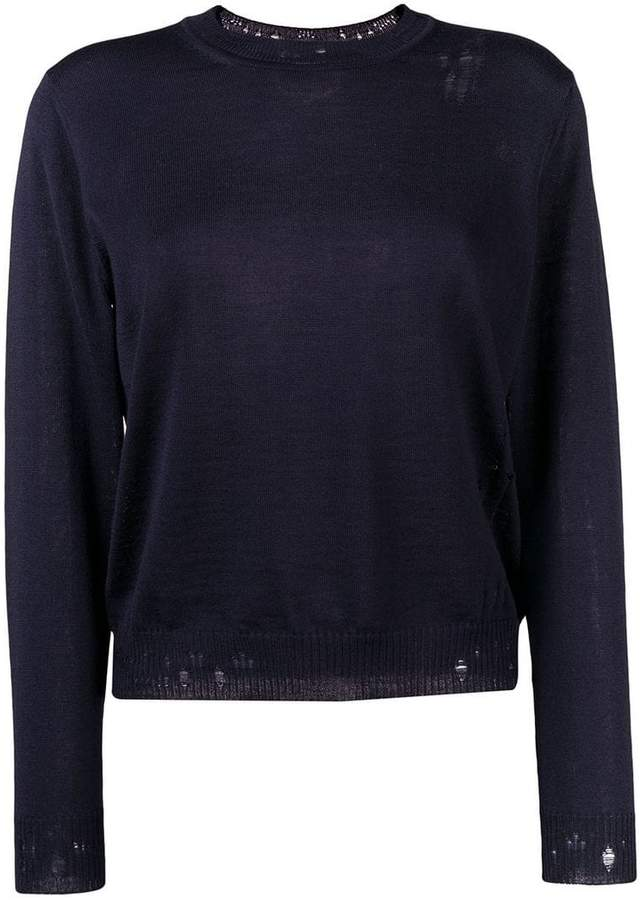 Golden Goose distressed-hem fitted sweater
