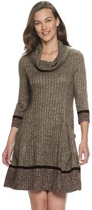 Croft & Barrow Women's Colorblock Cowlneck Sweater Dress