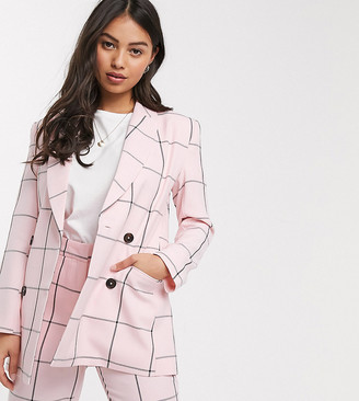 ASOS DESIGN Petite double breasted suit blazer in pink grid