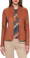 Akris Haley Leather Zip-Front Jacket, Cigar
